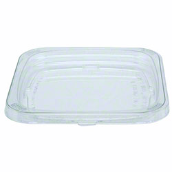 "Pactiv 4"" Square Clear Flat Recessed TR Lid"