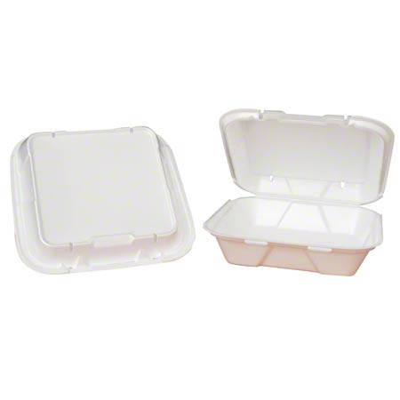 Genpak® Large Snap-It™ 1 Comp. Hinged Container - White