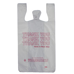 Whitehall 1/6 BBL Poly T-Sack Thank You Bag - 11 x 7 x 22