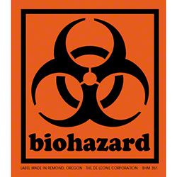 "DeLeone ""Biohazard"" Label - 3 1/2"" x 4"""