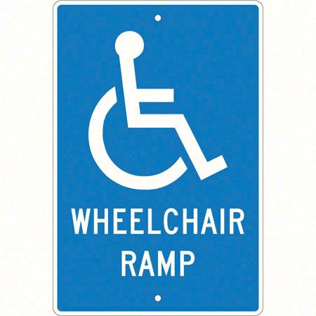 "Wheelchair Ramp Sign - 18"" x 12"""