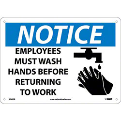 "Notice Employees Must Wash Hands Sign - 10"" x 14"""