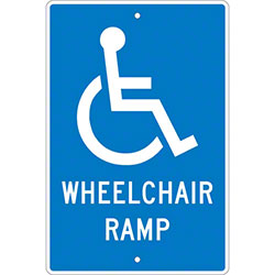 "Wheelchair Ramp Sign - 18"" x 12"""