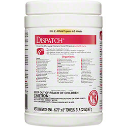 Dispatch® Hospital Cleaner Disinfectant Towels w/Bleach - 150 ct. Canister