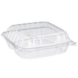 Dart® ClearSeal® Clear Hinged Lid Container -Med, 3 Cmpt