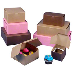 "BOXit Lock Corner 1 Pc. Kraft Bakery Box -10"" x 10"" x 2 1/2"""