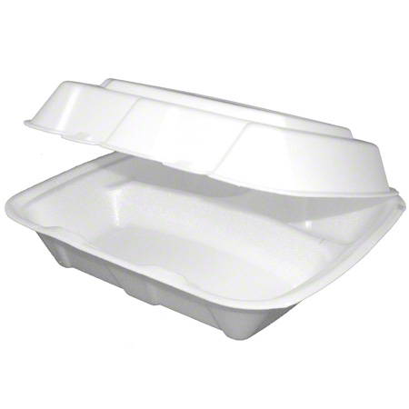 ecopax Regal U-Vented Foam Hinged Container-1 Cmpt , White