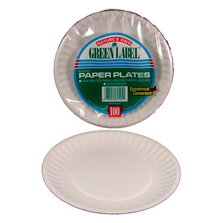 """PP9GREWH WHITE PAPER PLATE 9""""  UNCOATED 10/100CT, 1000/CS"""