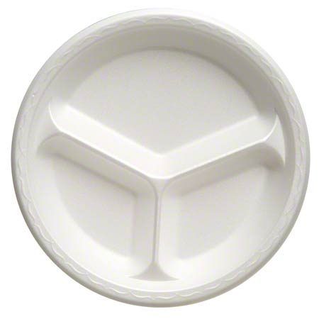"81300 10.25"" PLATE FOAM WHITE 3-COMPARTMENT 4/125CT"
