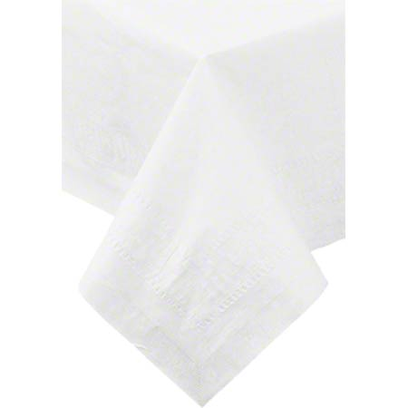482W WHITE TABLECOVER 82x82 2-PLY TISSUE/1-PLY POLY,