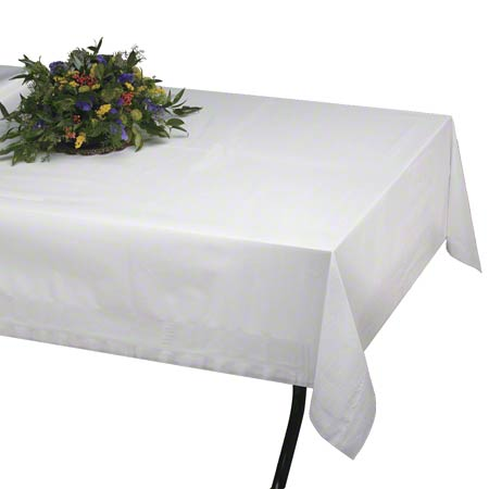 4108W WHITE TABLECOVER 54x108 25/cs 2-PLY TISSUE, 1-PLY POLY
