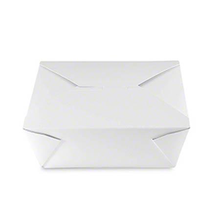 "FTB4W #4 WHITE BOX 160/cs TAKEOUT FOLDED 96oz 7.75""x5.5""x3.5"""