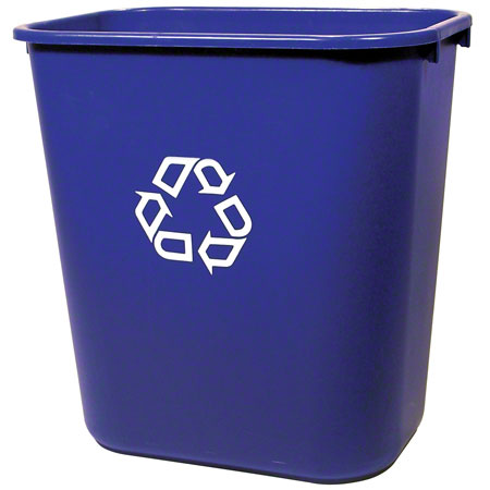 295673 BLUE RECYCLE CAN 28QT WASTEBASKET DECKSIDE