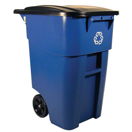 9W27 50-GAL ROLLOUT CONTAINER w/ LID BLUE, RECYCLING