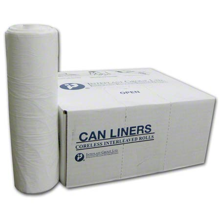 Inteplast LLDPE Institutional Can Liner-33x39, 0.80 mil, WH