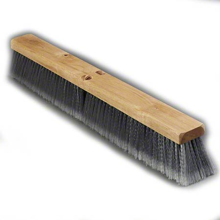 "BROOM FLOOR 18"" GRY  FLAGGED  POLYPRO BRISTLE /WOOD  12/CS"