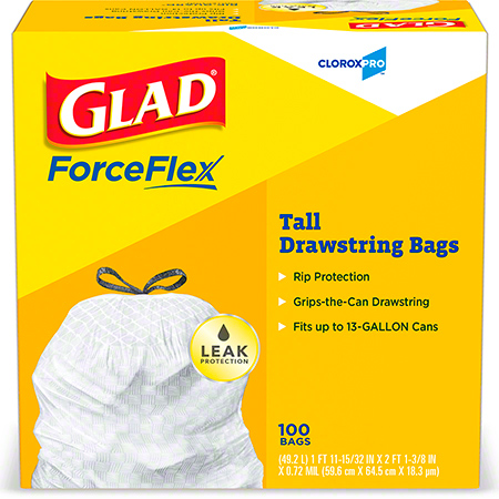 LINER LD 24X27.5 WHT GLAD  W/DRAW STRING 13 GAL 4/100 CT