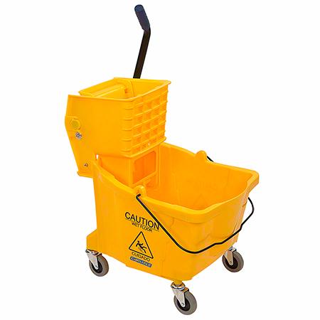 Carlisle Bucket w/Side Press Wringer - 35 Qt., Yellow