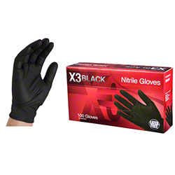 Ammex X3 Black Nitrile Glove - Medium