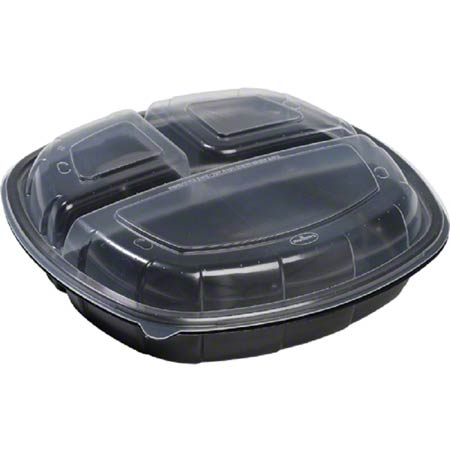 Sabert® Hot Collection Square Hinged Take-Out Container - 26.6/10.7/10.7 oz.