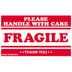"""BOX 3"""" x 5"""" Label - """"Please Handle With Care Fragile"""""""