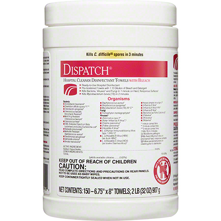 Dispatch® Hospital Cleaner Towels w/Bleach - 150 ct.