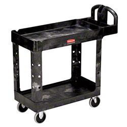 "Rubbermaid® 2 Shelf Cart w/Lipped Shelf - 39 1/4"" L, Black"