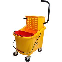 Janico Mop Bucket w/Side Press Wringer - 36 Qt., Yellow