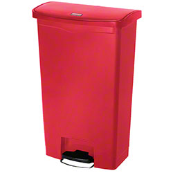 Rubbermaid® Slim Jim® Step-On Resin Front - 18 Gal., Red