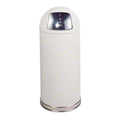 Rubbermaid® Round Top Receptacle - White, Galvanized Liner