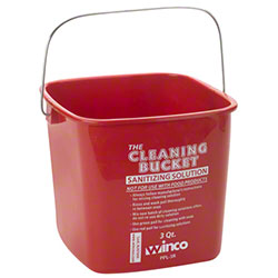 Winco® 3 Qt. Red Cleaning Bucket For Sanitizing Solution