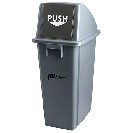 M2 Professional EZ-Push Rectangular Waste Container w/Lid - 60L, Grey