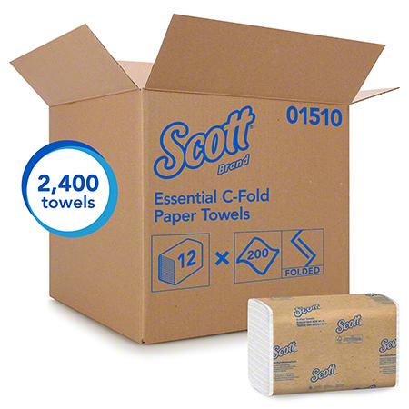 SCOTT C-FOLD TOWEL 1PLY WHITE 12/200