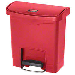 Rubbermaid® Slim Jim® Step-On Resin Front - 4 Gal., Red