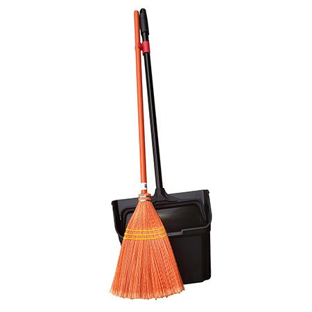 Lobby Plastic Fiber Broom & Dust Pan w/Wheels & Broom Clip