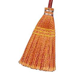 Premier™ Lobby Plastic Fiber Broom - 3 Sew