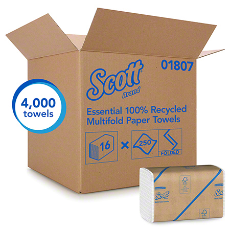 "Scott® Essential 100% Recycled Fiber Multi-Fold Towel - 9.2"" x 9.4"", White"
