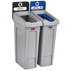 Rubbermaid® Slim Jim® 2-Stream Landfill/Mixed Recycling