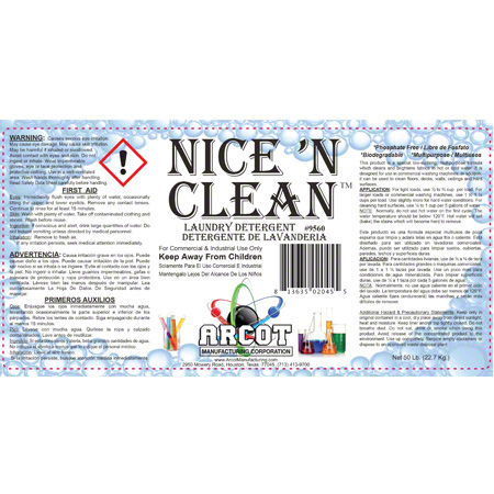 Arcot Nice 'N Clean Laundry Detergent - 50 lb  Pail | High Point