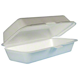 Dart® Foam Hinged Lid Cont. - Hot Dog, White
