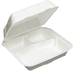 Pactiv Conventional Hinged Lid 3 Cmpt. Container - Large