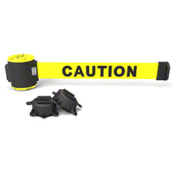 "Banner 30' Magnetic Wall Mount Barrier - Yellow ""Caution"""