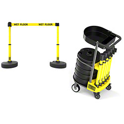 "Banner PLUS Cart Package w/Tray - Yellow ""Wet Floor"" Banner"