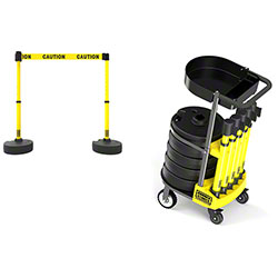 Banner PLUS Cart Package w/Tray-Yellow Double Sided Caution