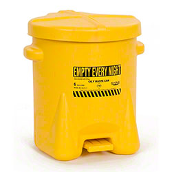 Eagle Polyethylene Oily Waste Can - 6 Gal., Yellow