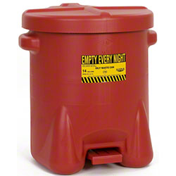 Eagle Polyethylene Oily Waste Can - 14 Gal., Red
