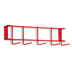 "Rack'Em™ PVC Coated Hook Rack - 17"", 5 Hook, Red"