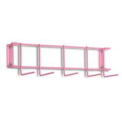 "Rack'Em™ PVC Coated Hook Rack - 17"", 5 Hook, Pink"