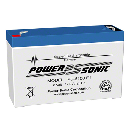 Power Sonic® Sealed Rechargeable Battery - 6 Volt 12.0 AH