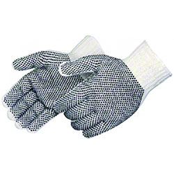 Liberty Dotted White Cotton/Poly String Knit Glove - Men's